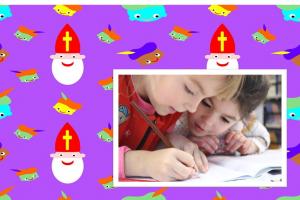 twee kinderen die schrijven met een achtergrond van sint en piet
