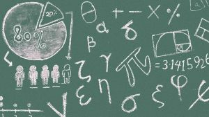 schoolbord met wiskundige tekens
