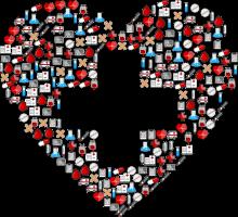 hartje gemaakt met eerstehulpitems met een kruis erin