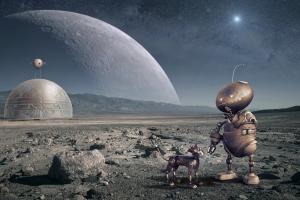futuristisch maanlandschap met robot
