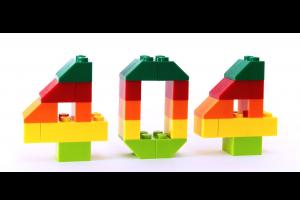 404 gemaakt met Legoblokjes