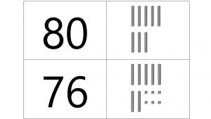 Een cijfer met daarnaast het getal in MAB-materiaal