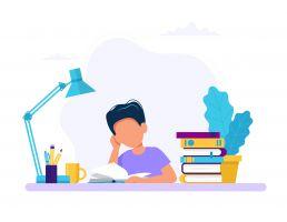 jongen die studeert