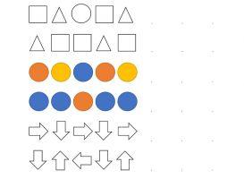 Verschillende patronen met vormen, kleuren en pijlen