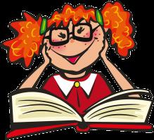 Cartoon lezend meisje