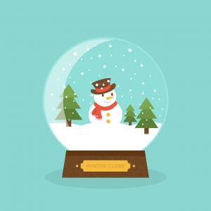 sneeuwbol met een sneeuwpop in