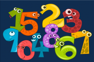 gekleurde cijfers met oogjes op