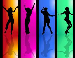 Vier dansende figuurtjes, telkens op een gekleurde achtergrond
