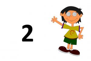 dansende jongen met getal 2