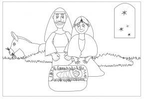 Tekening Jezus, Maria, Jozef en de ezel in de stal