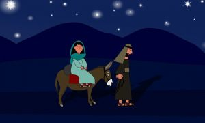 Maria en Jozef op de ezel