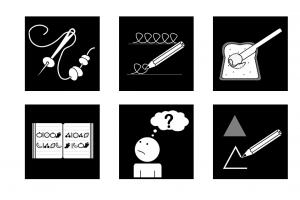 Enkele picto's van de leerdomeinen van de taakdozen: rijgen, schrijven, lezen, tekenen, boterham smeren, ...