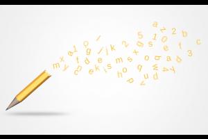 letters komen uit een potlood