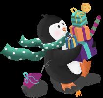 Een pinguïn draagt allerlei cadeautjes.