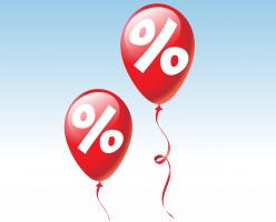 Twee rode ballonnen met procent symbool