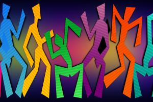 tekening van gekleurde, dansende mannetjes