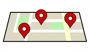 Een kaart met drie locatiesymbooltjes erop.