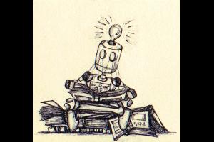 robot die in boeken kijkt en idee krijgt (lamp op hoofd brandt)