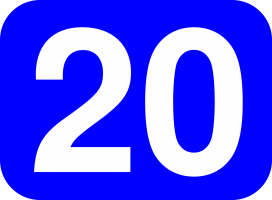 Het cijfer 20 op een blauwe achtergrond