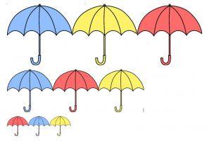 Paraplu's in verschillende kleuren en groottes