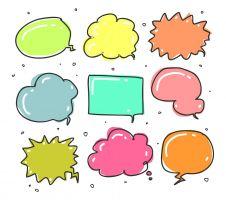 Verschillende kleurrijke tekstballonnen