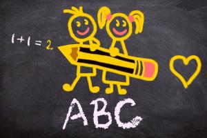 ABC op een krijtbord