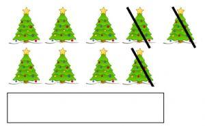 Een rekenopdracht met afbeeldingen van kerstbomen