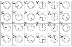 Voorbeeld van enkele opdrachten analoog kloklezen