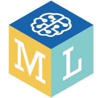 Het logo van Machine Learning for kids. Een kubus met 3 gekleurde vlakken.