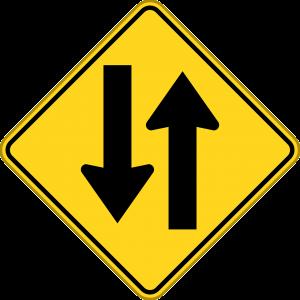 Bord met twee tegenovergestelde pijlen