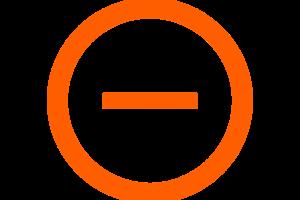 minteken in een oranje cirkel