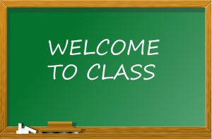 Krijtbord met tekst welcome to class