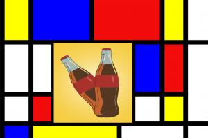 Kunstwerk Mondriaan en twee colaflesjes