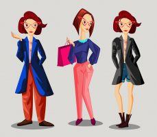 3 vrouwen in verschillende outfits