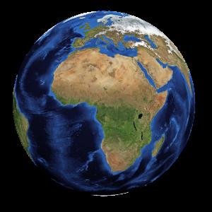 wereldbol waarop Afrika vooraan ligt