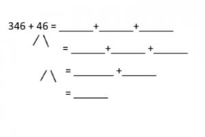voorbeeldoefening: 346+46 met tusstenstappen