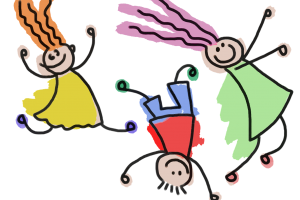 kindertekening met spelende kinderen