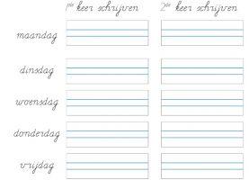 Werkblad met enkele namen van de dagen van de week