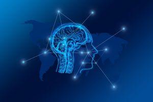 Computertekening van een hoofd en hersenen