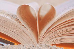 boek waarvan twee bladzijden omgeplooid zijn tot een hartje