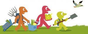 Natuuromgeving waarin drie figuurtjes aan de slag gaan met tuinmateriaal