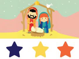 stal met Jozef en Maria en Jezus en drie sterren