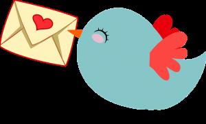 vogel met een envelopje met een hartje vast