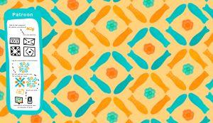 Patronen gemaakt van snoepjes in oranje en groen