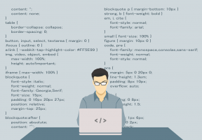 Tekening van man aan een laptop die aan het coderen is