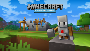 Minecraft figuurtje en bouwwerk in de blokjes stijl.