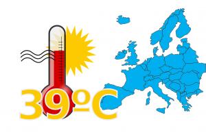 kaart van Europa en thermometer 39 graden