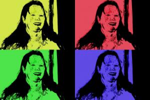 Dezelfde vrouw met 4 verschillende achtergrondkleuren. Werk in de stijl van Andy Warhol