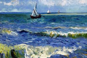 Schilderij waarop de zee en een boot staat. Impressionisme
