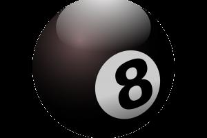 biljartbal waarop het cijfer 8 staat